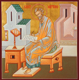 Icon of St. Matthew writting his Gospel